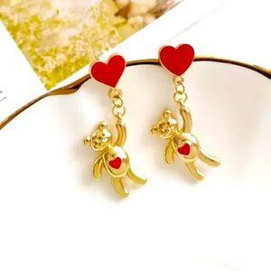 New Trendy Heart-Bear Danggling Earrings